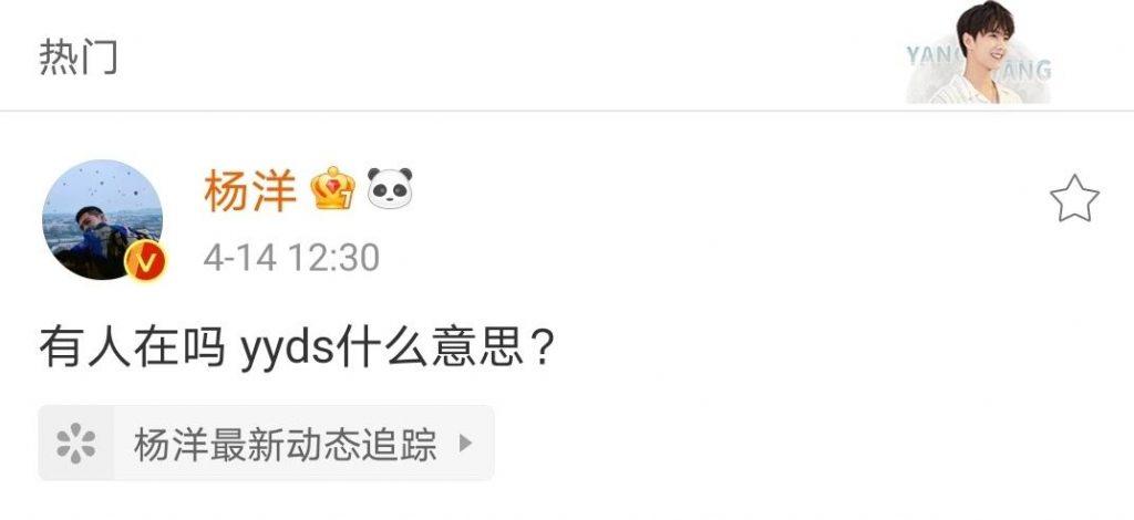 杨洋问yyds是什么意思